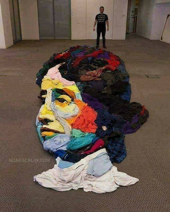 FB 2017 -  What be this .. any guess ..? its a portrait of a face .. beautiful use of colours  ..  BUT do you know what it really is .. !!? 🤪🤪🤪  Its a portrait made from throw away CLOTHES .. !! Amazing 😎😎😎😎
