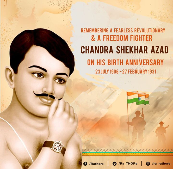 FB 2455 -  श्रद्धा नमन 🙏🙏  .. Chandra Shekhar Azad ..  the Alfred Park in Allahabad , now PrayagRaj, was where he fought British force and gave his life .. now the Park named after him .. and Bal Gangadhar Tilak, freedom fighter, defied the Brits and introduced present day Ganapati celebrations