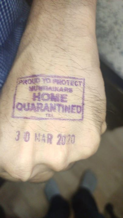 FB 2673 -  Stamping started on hands with voter ink, in Mumbai .. keep safe , be cautious , remain isolated if detected  ..