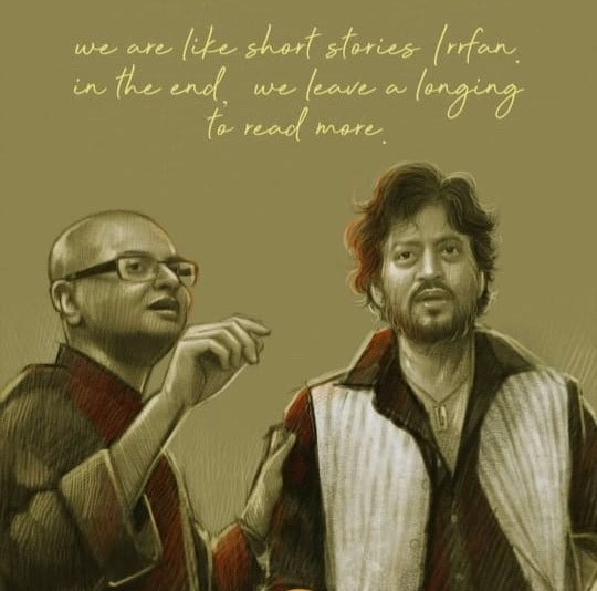FB 2716 -  .. nothing could have been a better tribute than this by artist Aniket Misra ..  Perhaps that is Rituparno Ghosh .. and Irfaan of course .. both of immeasurable talent ..  left this World far too early .. 🙏 .. the film firmament of the nation shaken and in utter dismay