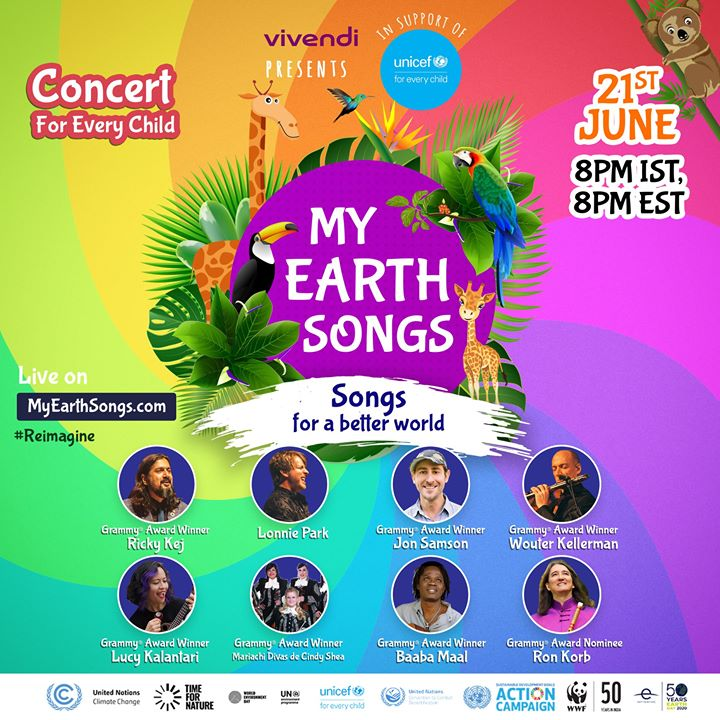 FB 2770 - #ForEveryChild, we can #Reimagine a better tomorrow. And we can start today! Spend a Multiple musical notes Microphone  Sunday evening along with Grammy Award Winner and #UNICEF India Celebrity Supporter Ricky Kej and our musician friends from around the world. Join 'My Earth Concert' with Vivendi  Ricky Kej UNICEF India UNICEF UNICEF South Asia T-Series WWF-India