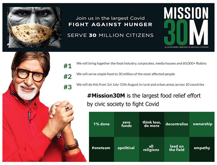 FB 2631 - Thank you my followers for the support I had asked some days back for #Mission30M. Despite the roadblocks created by the CoViD pandemic , RHA, the Robin Hood Army and its 'robins' were able to serve 23 million+ people in just 6 weeks time across 170 cities in 8 countries !! My gratitude to all for bringing the smiles on thousands of faces ! From the time of my association with them on KBC, they have achieved the unthinkable. Congratulations Neel and the ' 'robins' of the  Robin Hood Army !!  A moment of immense pride !🇮🇳