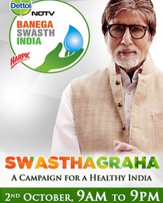 This #GandhiJayanti celebrate 150th anniversary of Mahatma Gandhi with a 12-hour #Swasthagraha, as part of the @ndtv - @dettol.india #BanegaSwasthIndia campaign to make India healthy. Join me LIVE on October 2 from 9am (IST) on NDTV 24x7 and ndtv.com/swasthindia